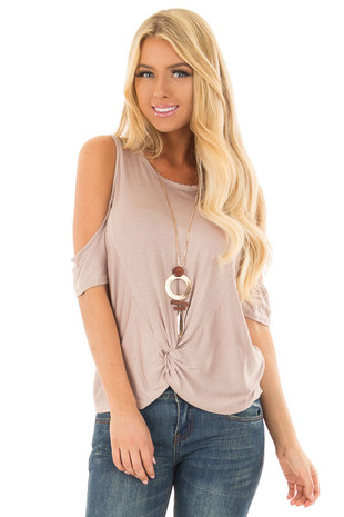 Mocha Cold Shoulder Top with Front Knot front closeup