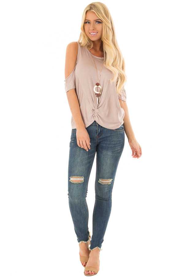 Mocha Cold Shoulder Top with Front Knot front full body