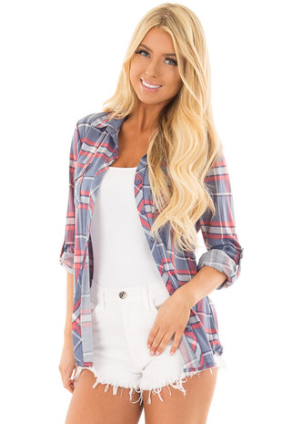 Denim Blue and Coral Plaid Roll Up Long Sleeve Top front closeup