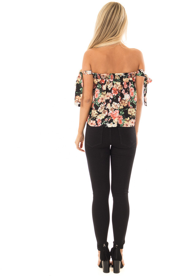 Black Floral Print Off the Shoulder Top with Tie Sleeves back full body
