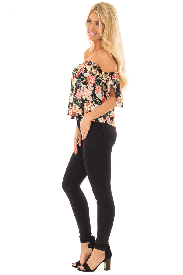 Black Floral Print Off the Shoulder Top with Tie Sleeves side full body