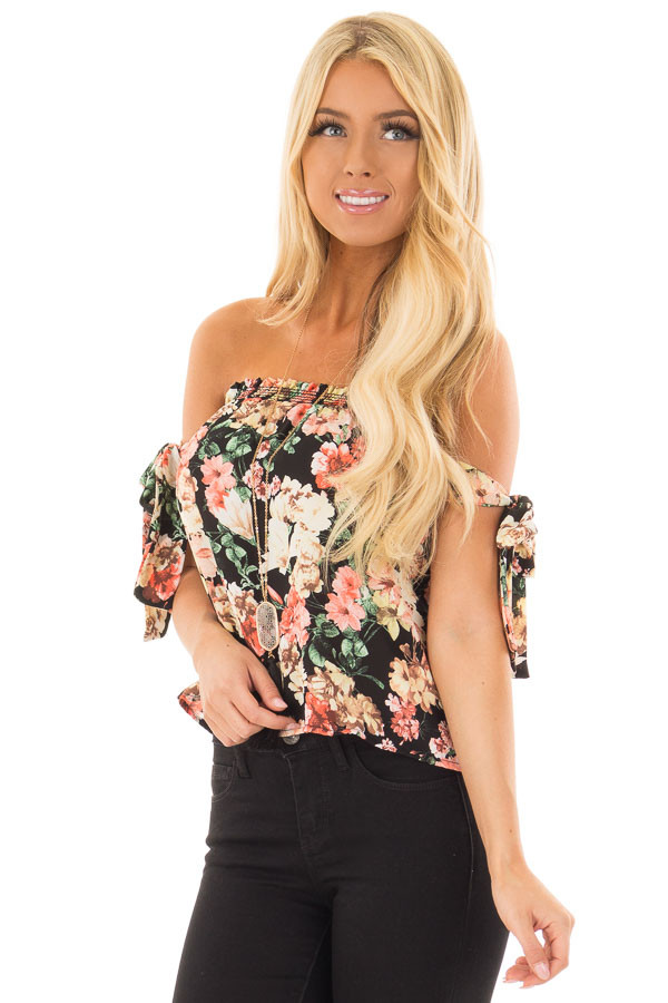 Black Floral Print Off the Shoulder Top with Tie Sleeves front closeup