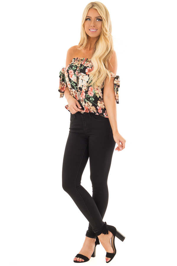 Black Floral Print Off the Shoulder Top with Tie Sleeves front full body