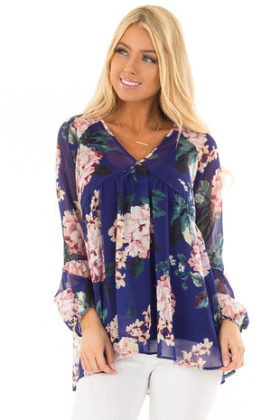 Royal Blue Floral Print Sheer Blouse front closeup