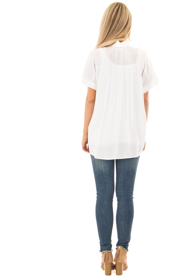 White Button Up Blouse with Rounded Hem back full body