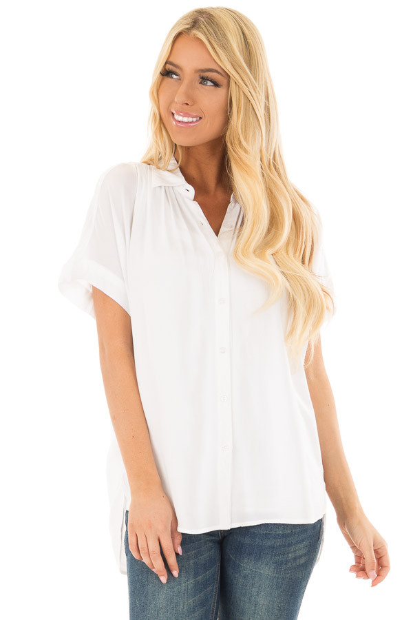 White Button Up Blouse with Rounded Hem front closeup