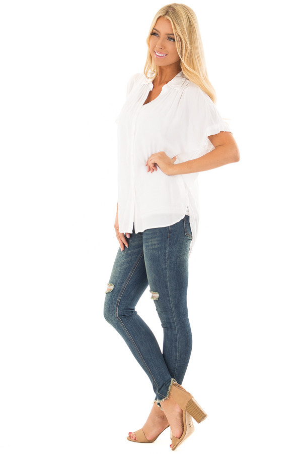 White Button Up Blouse with Rounded Hem side full body