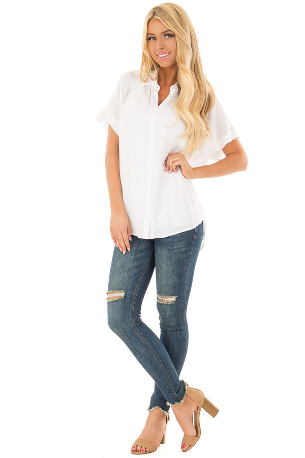 White Button Up Blouse with Rounded Hem front full body
