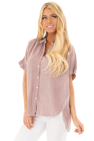 Mauve Button Up Blouse with Rounded Hem front closeup