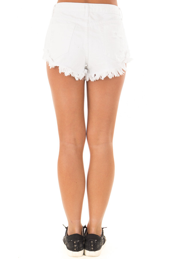 White Distressed Denim Cut Out Shorts back