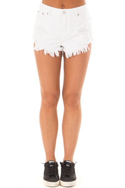 White Distressed Denim Cut Out Shorts front