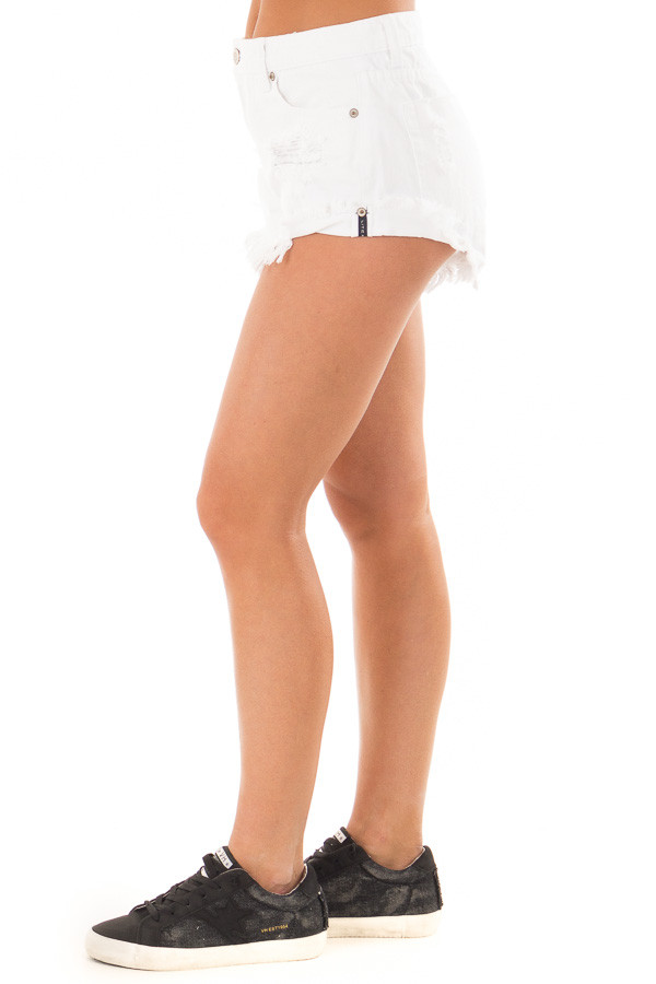 White Distressed Denim Cut Out Shorts left side