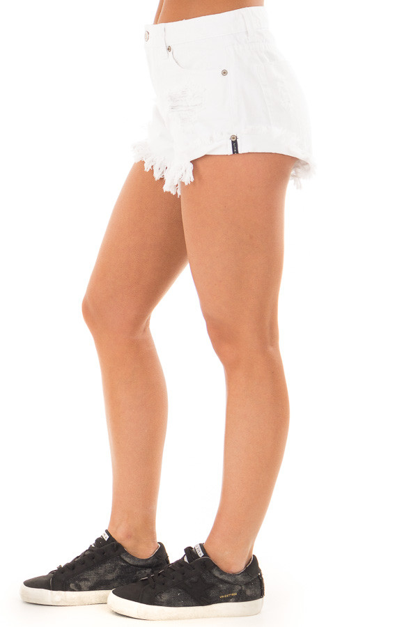 White Distressed Denim Cut Out Shorts right side