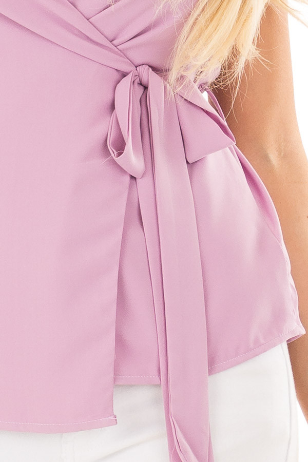 Lilac Wrap Style Sleeveless Blouse front detail