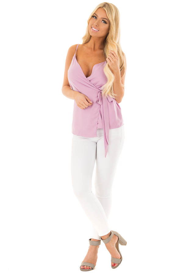 Lilac Wrap Style Sleeveless Blouse front full body