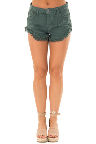 Hunter Green Distressed Denim Cut Out Shorts front