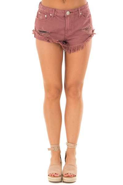 Burgundy Distressed Denim Cut Out Shorts front