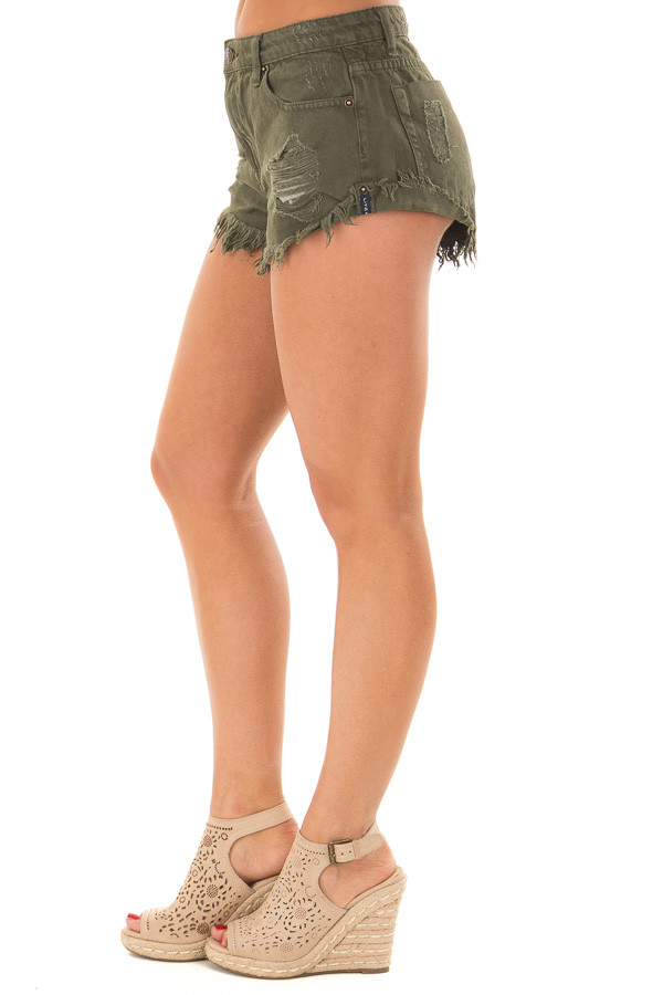 Dark Olive Distressed Denim Cut Out Shorts right side