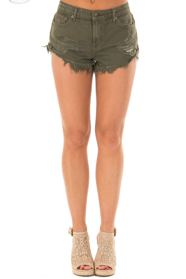 Dark Olive Distressed Denim Cut Out Shorts front