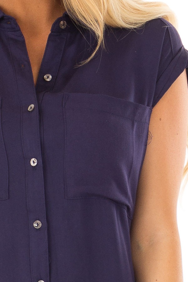 Navy Short Sleeve Button Up Top with Side Pockets front detail