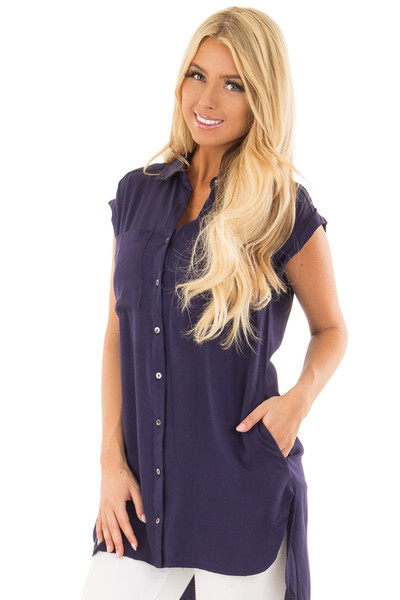 Navy Short Sleeve Button Up Top with Side Pockets front closeup