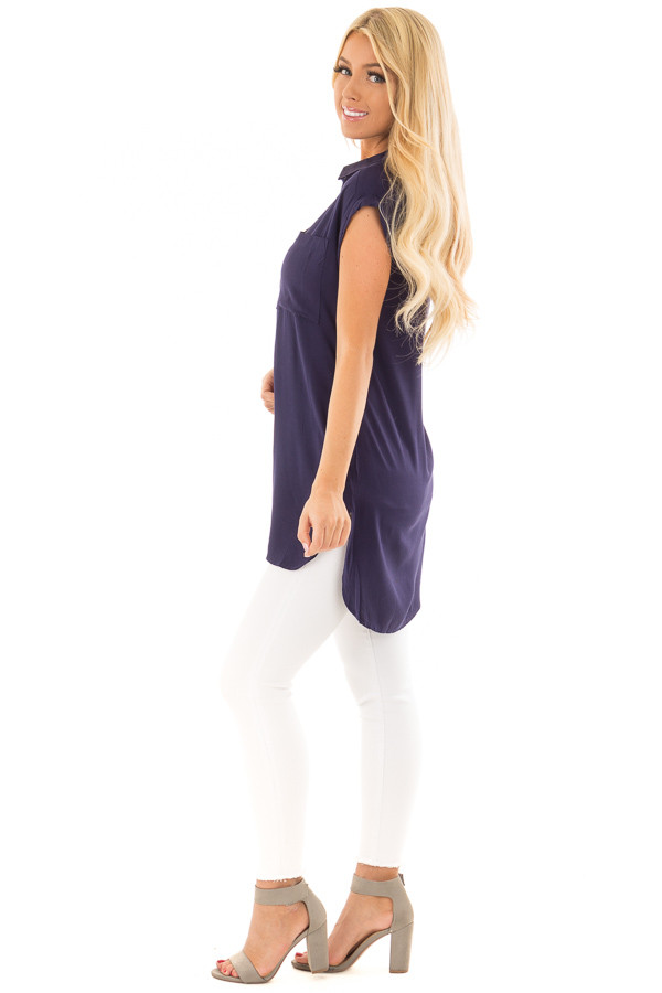 Navy Short Sleeve Button Up Top with Side Pockets side full body