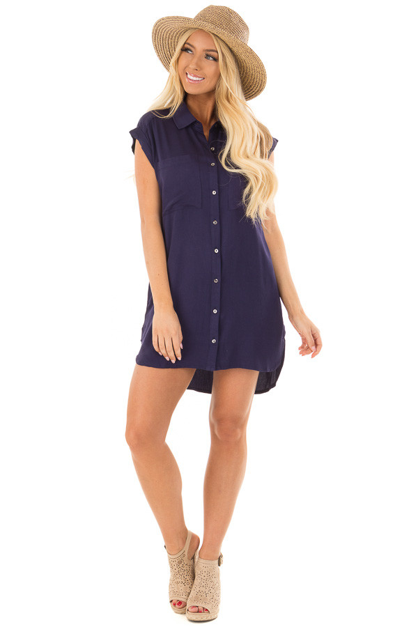 Navy Short Sleeve Button Up Top with Side Pockets front full body
