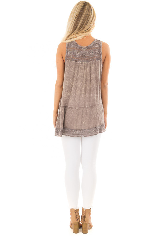 Ash Purple Washed Lace Tank Top back full body