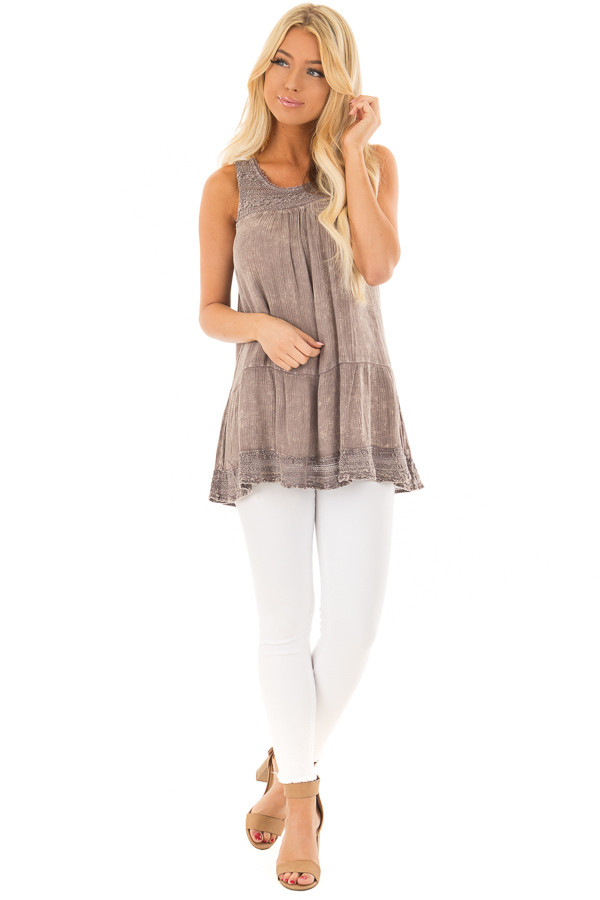 Ash Purple Washed Lace Tank Top front full body