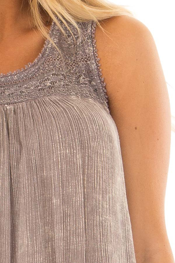 Ash Purple Washed Lace Tank Top front detail