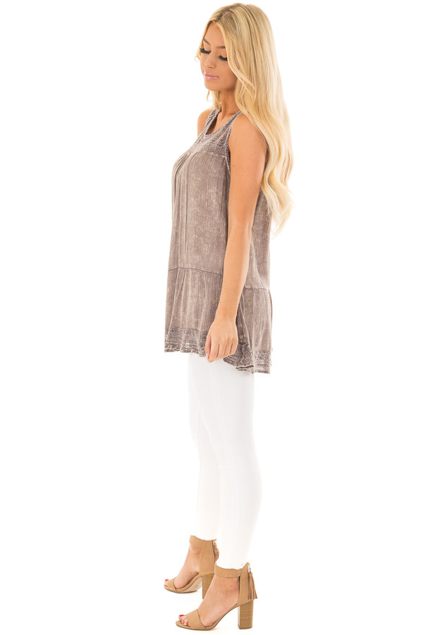 Ash Purple Washed Lace Tank Top side full body