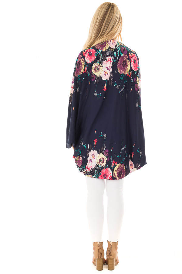 Deep Navy Floral Print Kimono with Rounded Hemline back full body