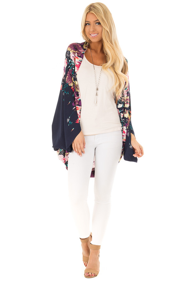 Deep Navy Floral Print Kimono with Rounded Hemline front full body