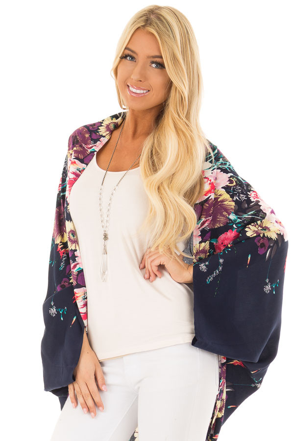 Deep Navy Floral Print Kimono with Rounded Hemline front closeup