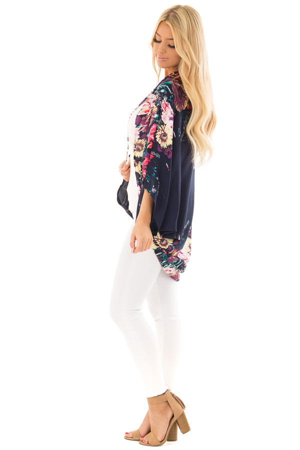 Deep Navy Floral Print Kimono with Rounded Hemline side full body