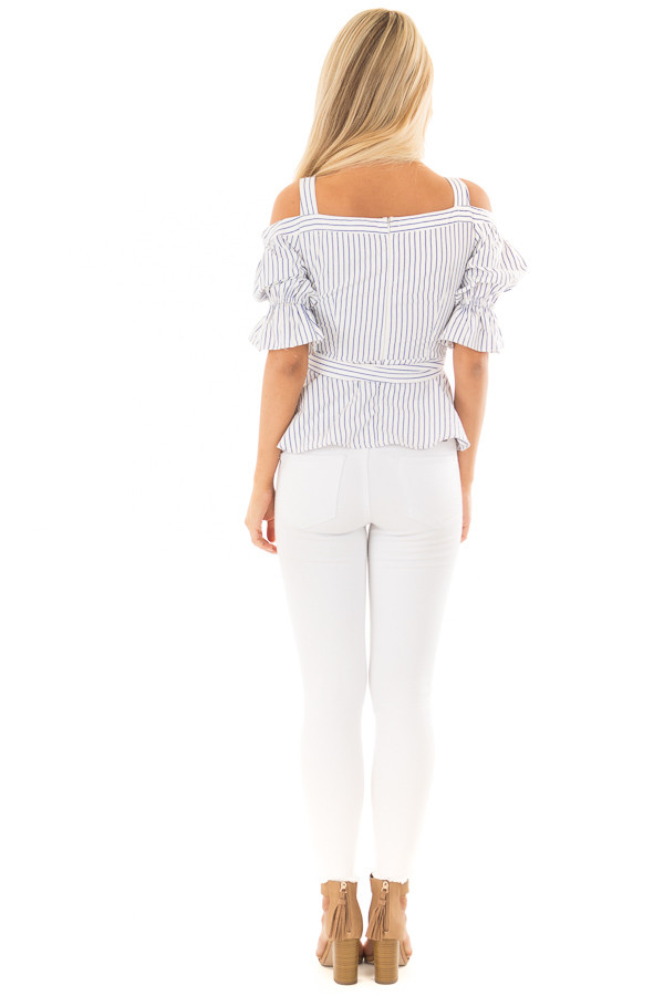 Off White and Navy Striped Cold Shoulder Top with Tie Detail back full body