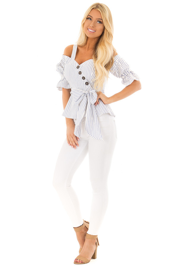 Off White and Navy Striped Cold Shoulder Top with Tie Detail front full body