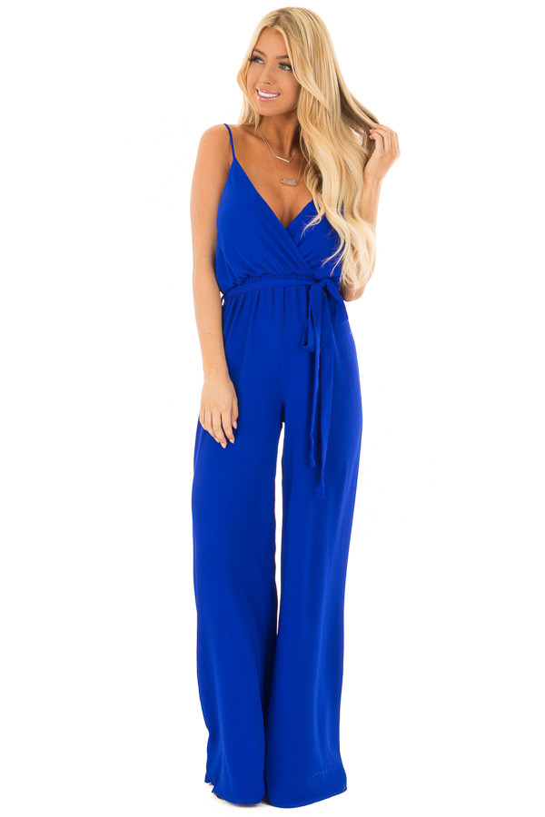 Electric Blue Jumpsuit with Waist Tie front full body