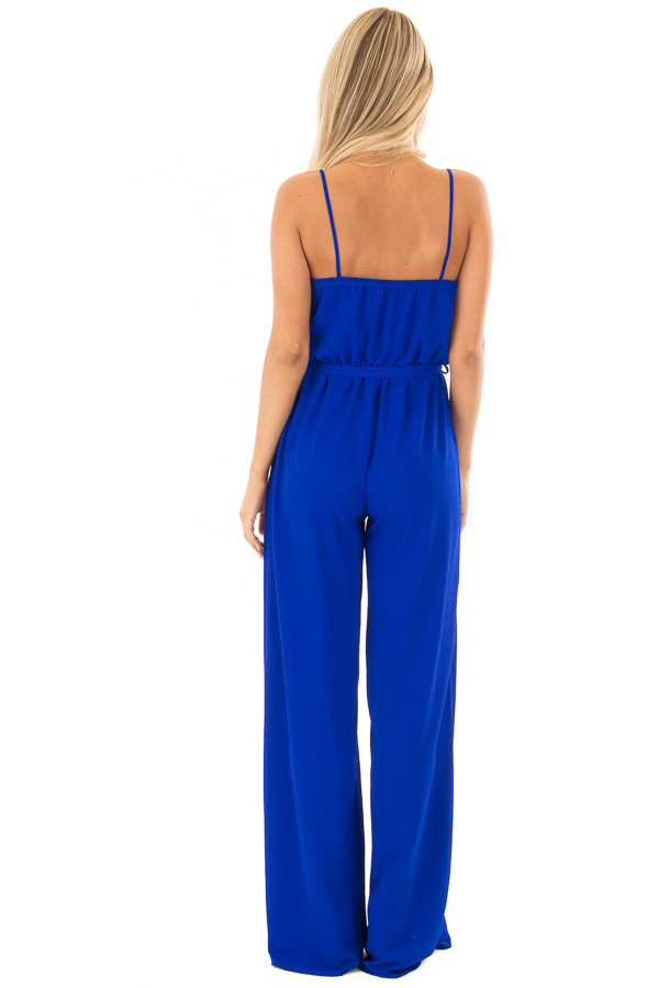 Electric Blue Jumpsuit with Waist Tie back full body