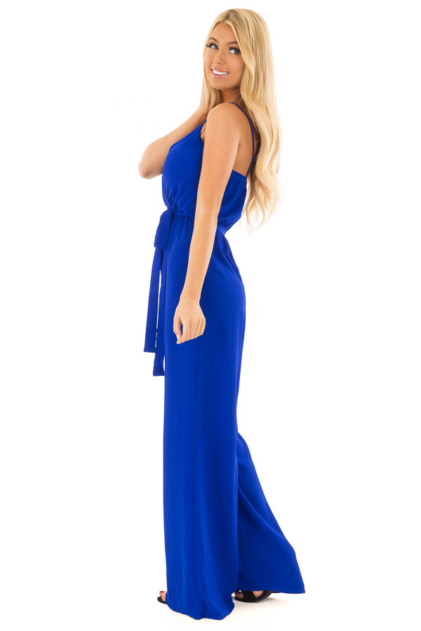 Electric Blue Jumpsuit with Waist Tie side full body
