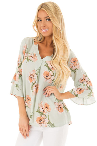 Sage Floral V Neck Top with Layered Bell Sleeves front closeup