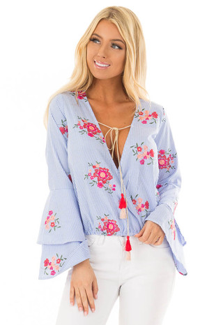 Denim Blue Striped Blouse with Floral Embroidery front closeup