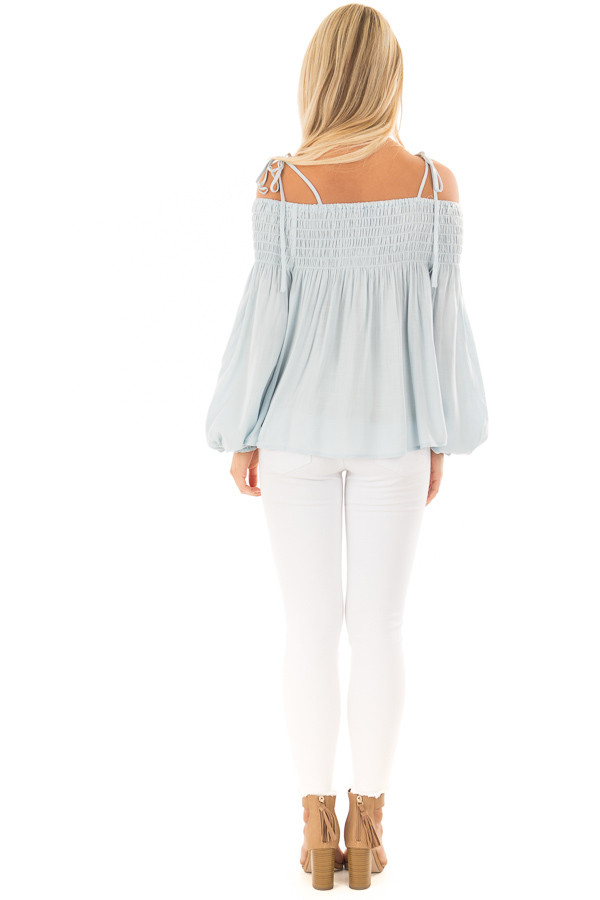 Light Blue Long Sleeve Cold Shoulder Tie Button Down Top back full body