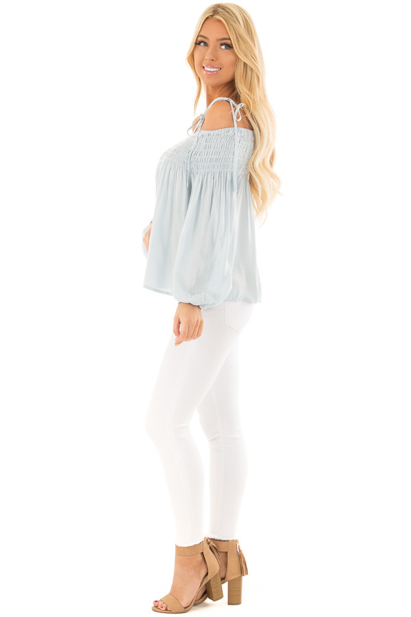 Light Blue Long Sleeve Cold Shoulder Tie Button Down Top side full body