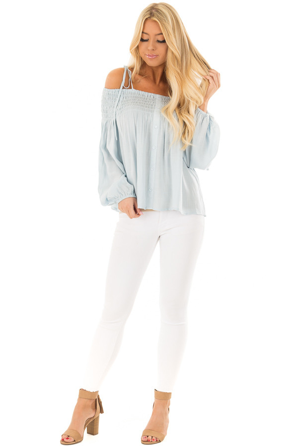 Light Blue Long Sleeve Cold Shoulder Tie Button Down Top front full body