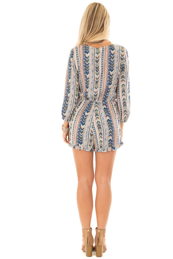 Multicolor Striped Pattern Romper with Cross Over Front back full body