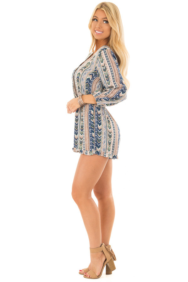 Multicolor Striped Pattern Romper with Cross Over Front side full body