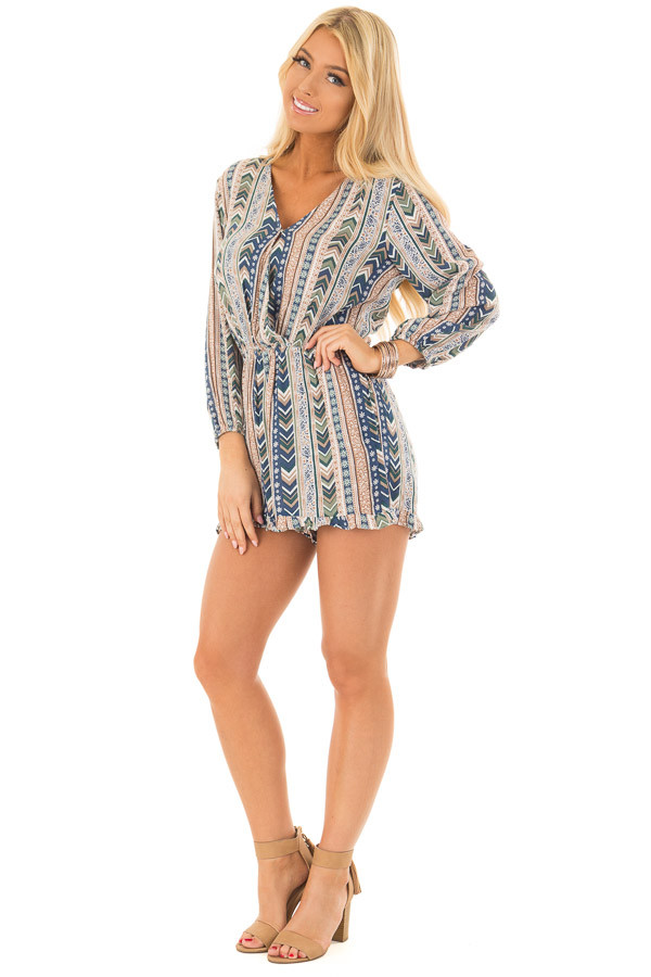 Multicolor Striped Pattern Romper with Cross Over Front front full body