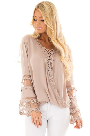 Taupe Lace Up Cross Over Top with Lace Sleeve Detail front closeup