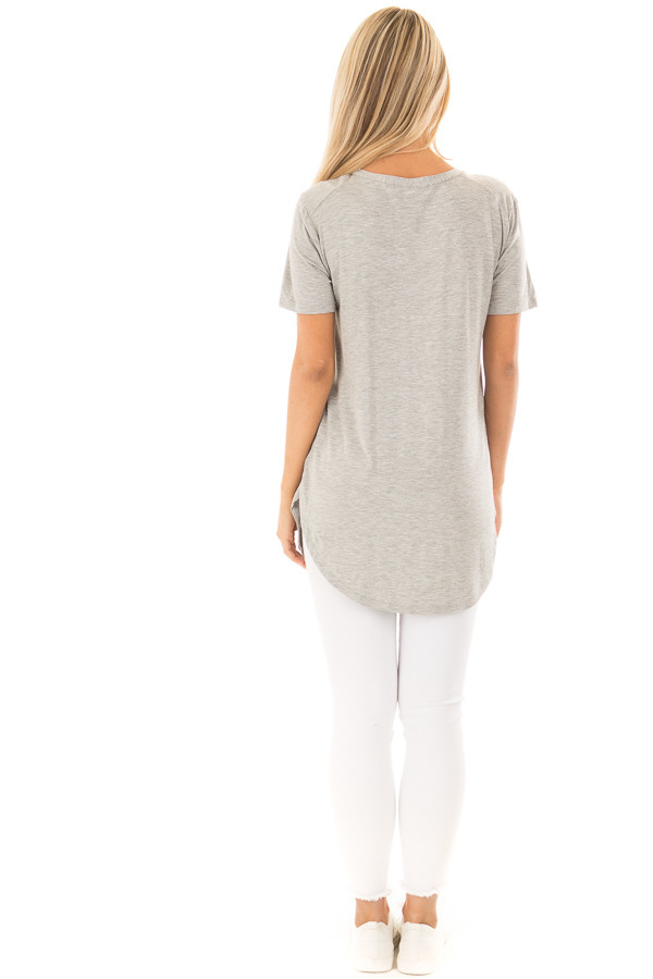 Heather Grey V Neck Short Sleeve Comfy Tee Shirt back full body
